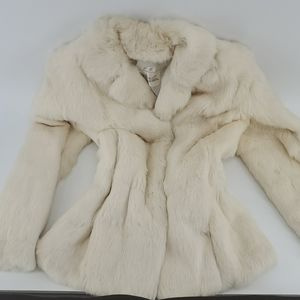 Jackets & Blazers - Beautiful white rabbit fur coat